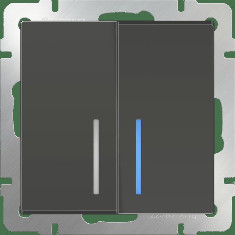 WL07-SW-2G-LED/Выключатель двухклавишный с подсветкой (серо-коричневый)