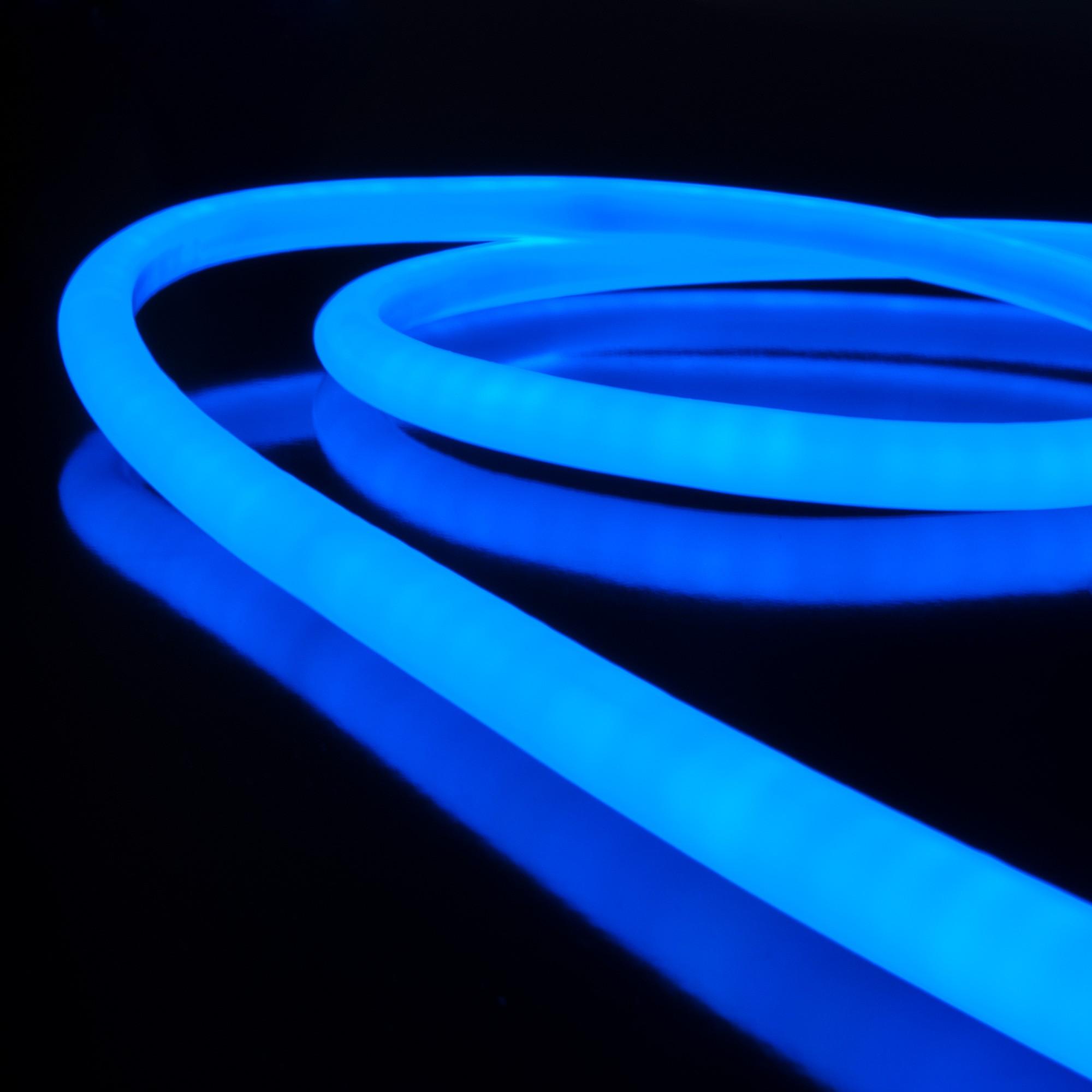 Набор гибкий неон LS002 220V 9.6W 120Led 2835 IP67 круглый синий, 10 м