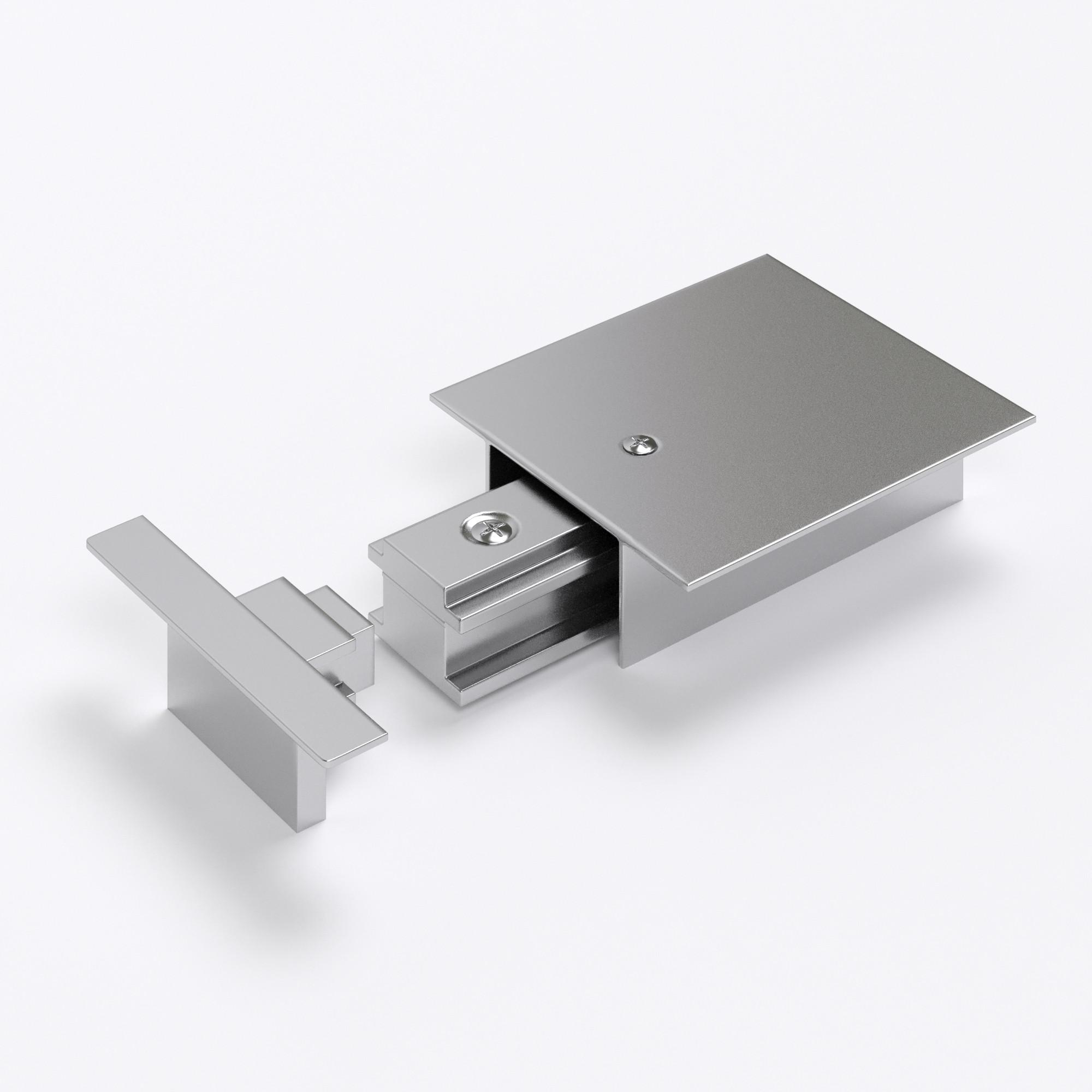 TRPF-1-CH / Ввод питания и заглушка торцевая для однофазного встраиваемого шинопровода (серебристый)