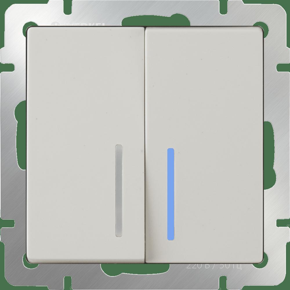 WL03-SW-2G-2W-LED-ivory /Выключатель двухклавишный проходной c  с подсветкой (слоновая кость)