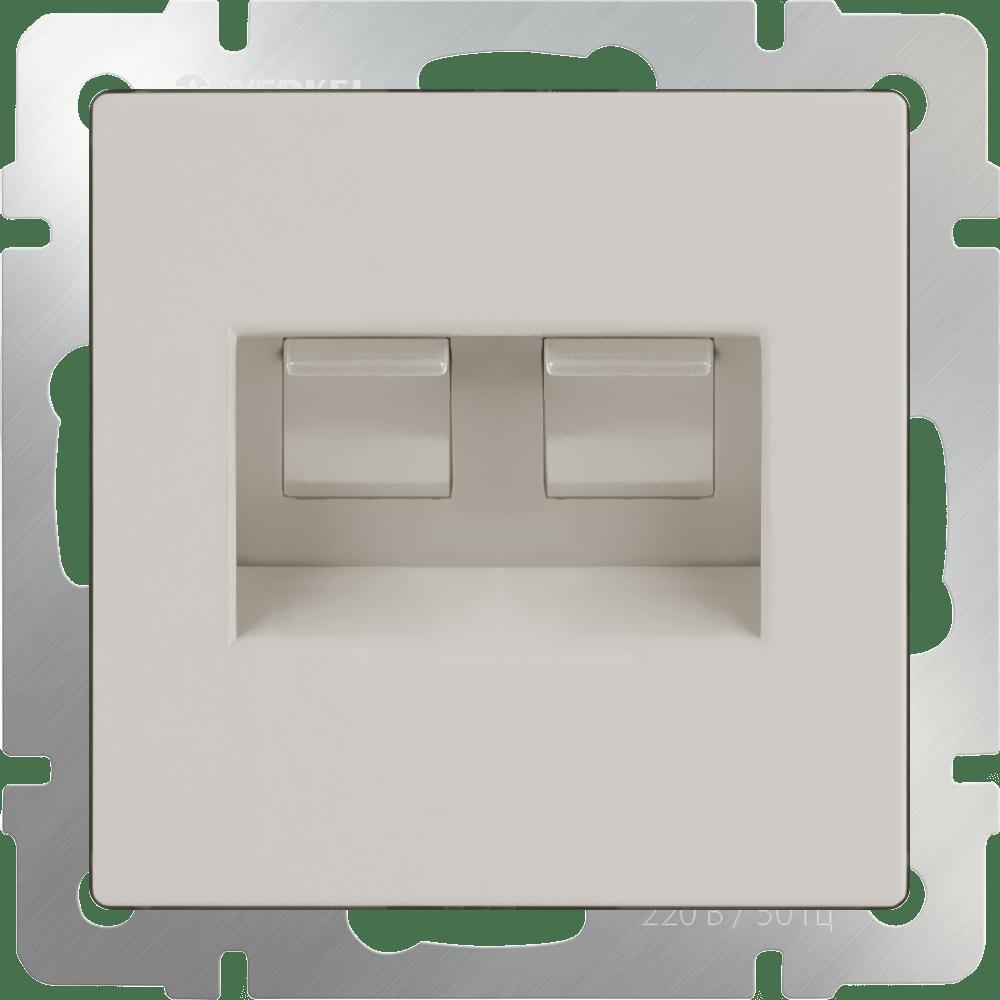 WL03-RJ45+RJ45 -ivory/ Розетка двойная Ethernet RJ-45  (слоновая кость)
