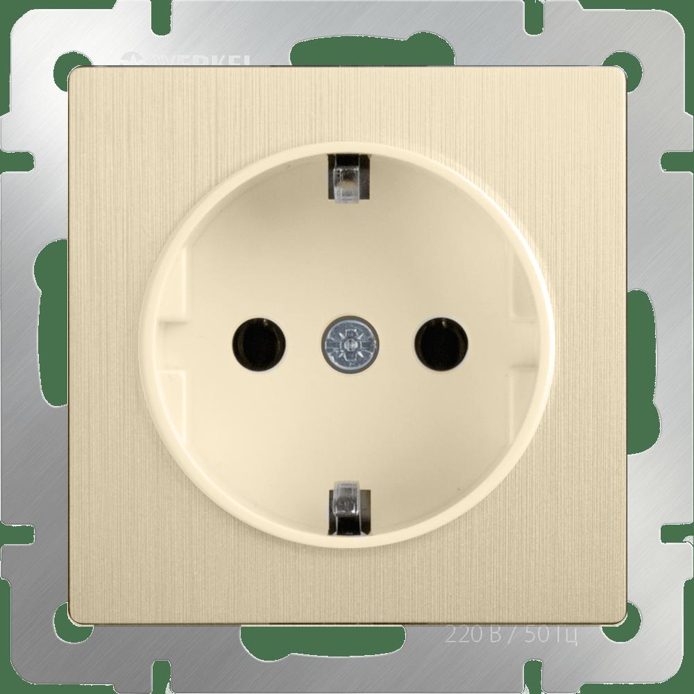 WL10-SKGS-01-IP44 / Розетка с заземлением и шторками (шампань рифленый)
