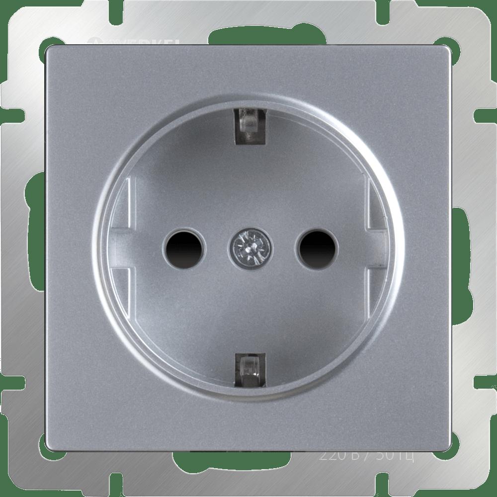 WL06-SKGS-01-IP44/ Розетка с заземлением и шторками (серебряный)