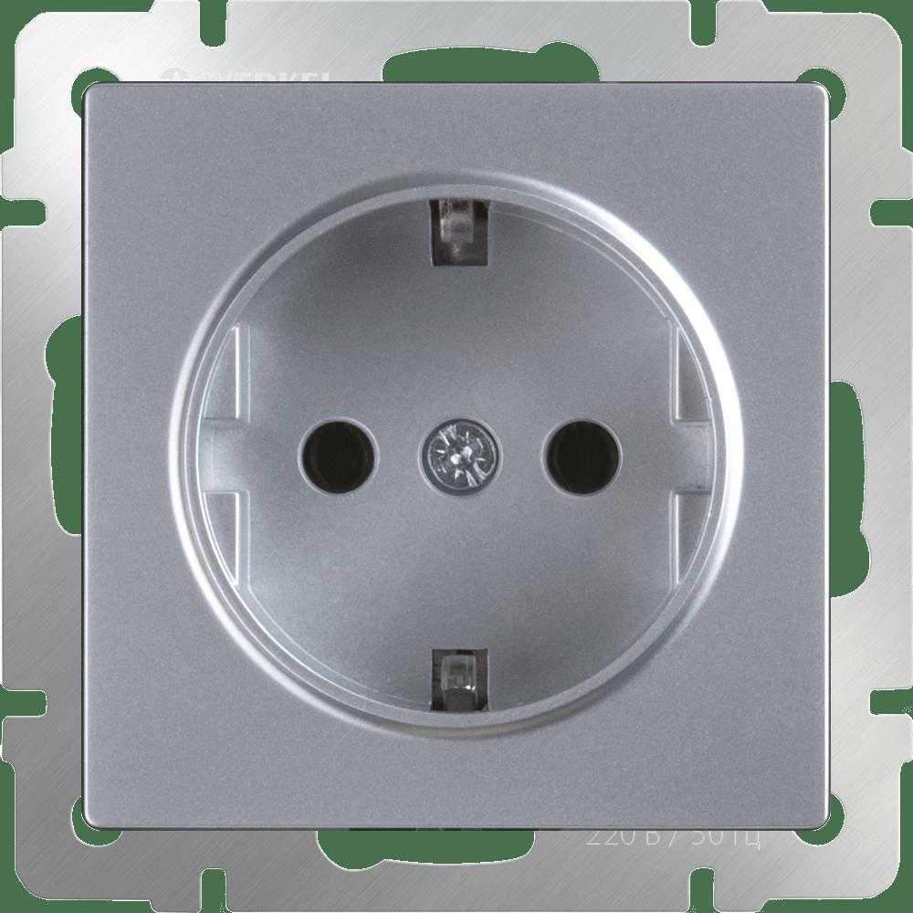 Розетка с заземлением WL06-SKG-01-IP20 серебряный