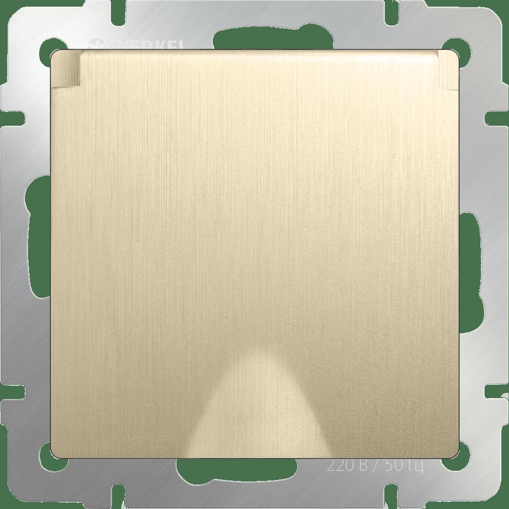 WL10-SKGSC-01-IP44 / Розетка влагозащ. с зазем. с защит. крышкой и шторками (шампань рифленый)