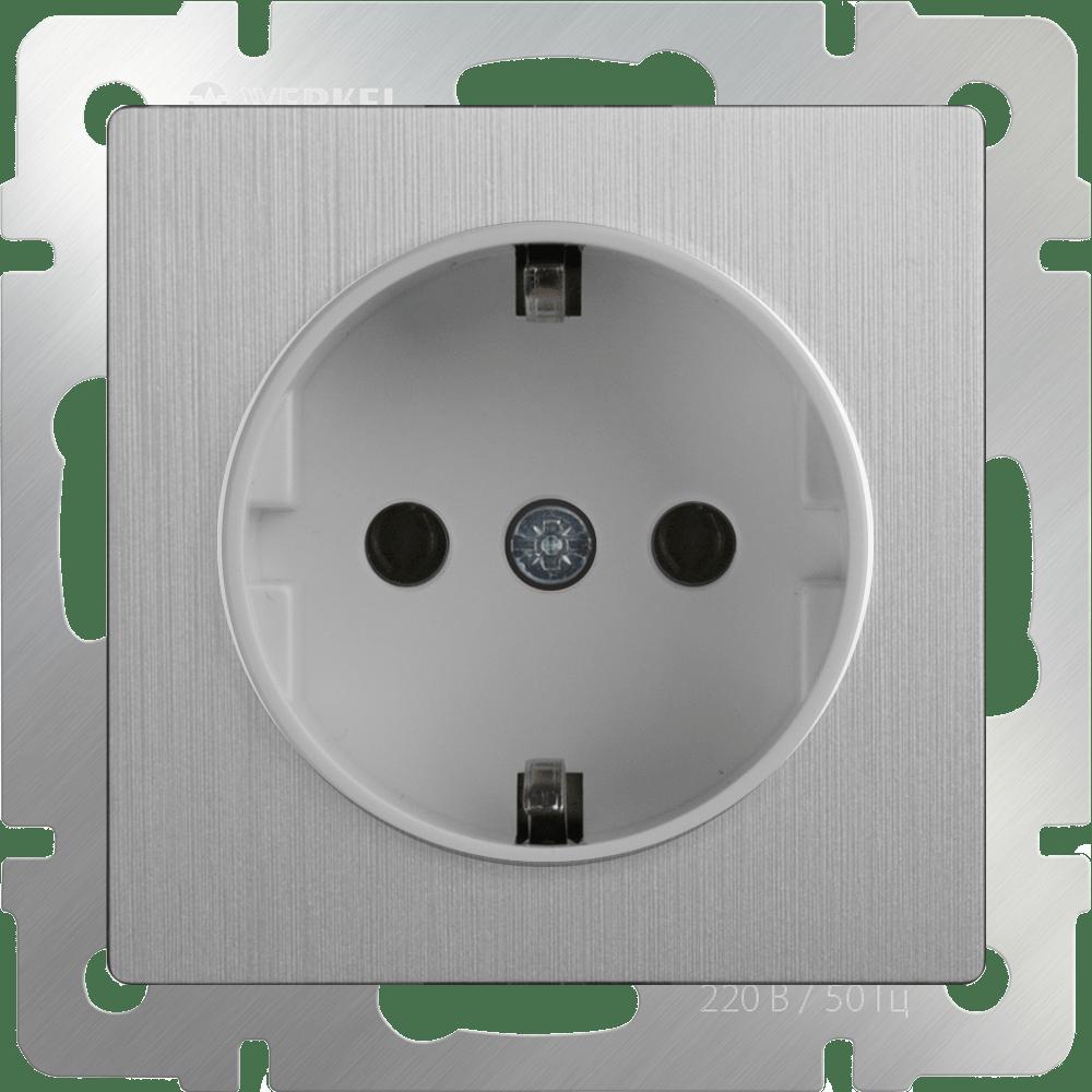 WL09-SKG-01-IP20 / Розетка с заземлением (cеребряный рифленый)