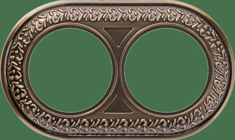 WL70-frame-02/  Рамка на 2 поста (бронза)