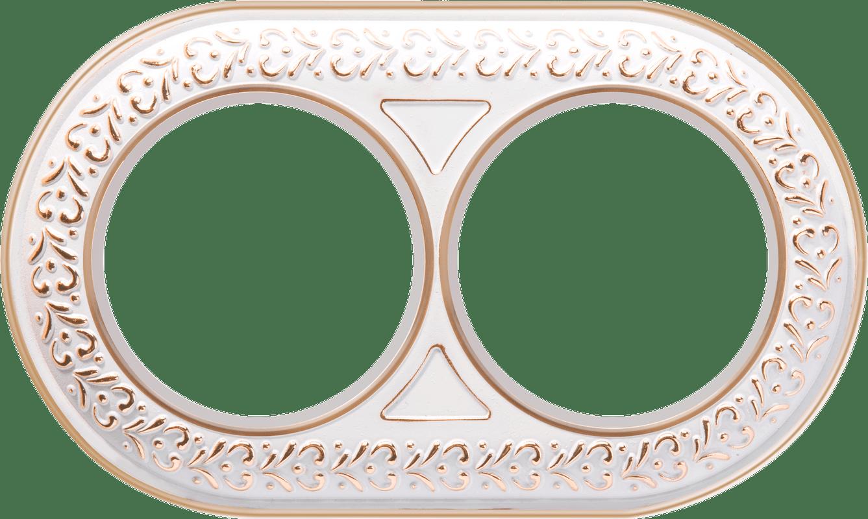 WL70-frame-02/  Рамка на 2 поста (белое золото)