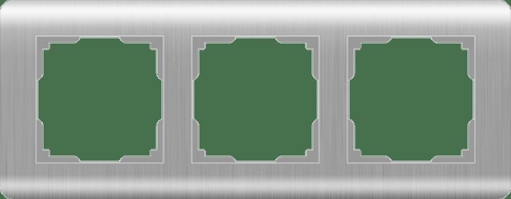 WL12-Frame-03 / Рамка на 3 поста  (серебряный)
