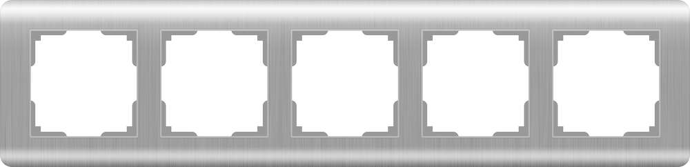 WL12-Frame-05/ Рамка на 5 постов  (серебряный)
