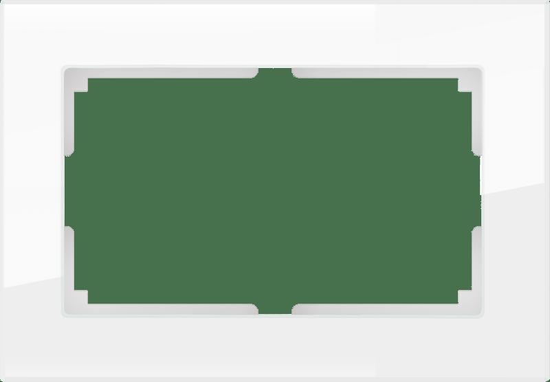 WL01-Frame-01-DBL / Рамка для двойной розетки (белый,стекло)