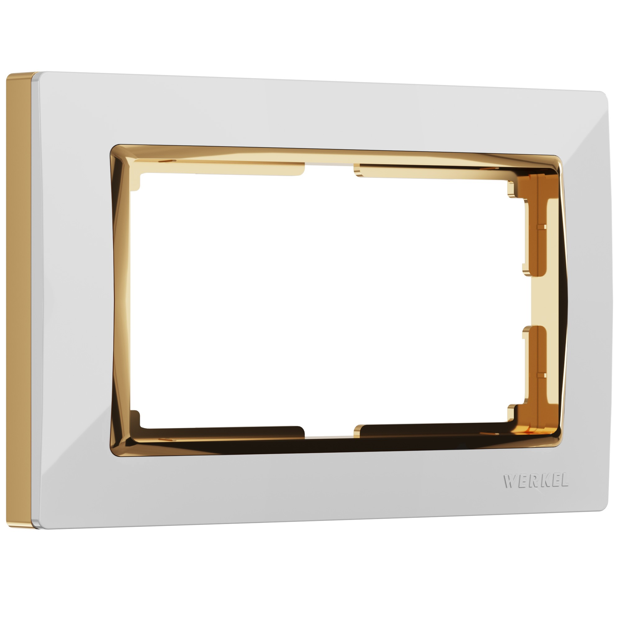 WL03-Frame-01-DBL-white-GD/ Рамка для двойной розетки (белый/золото)