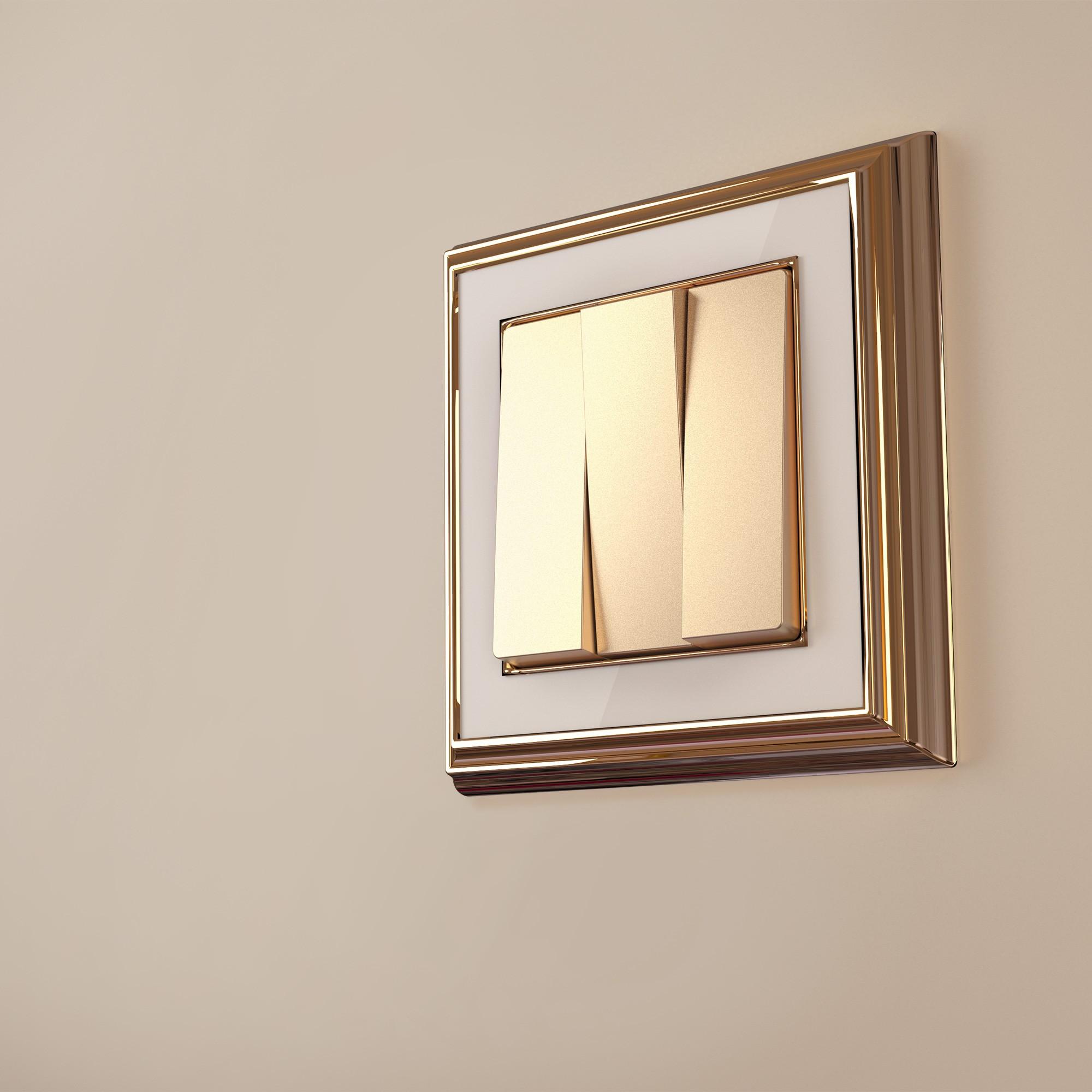 WL17-Frame-01/ Рамка на 1 пост (золото/белый)