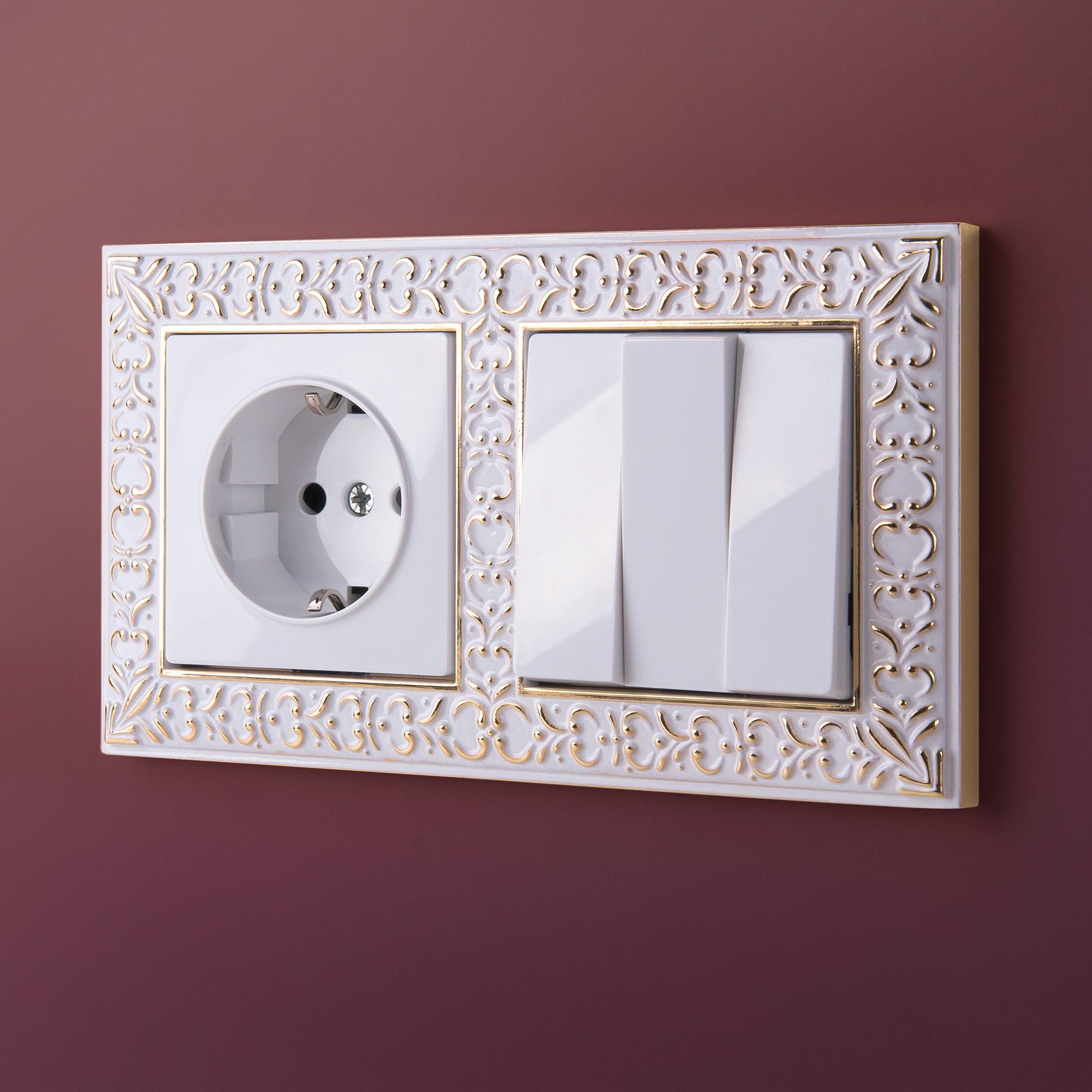 WL07-Frame-02/Рамка на 2 поста (белое золото)