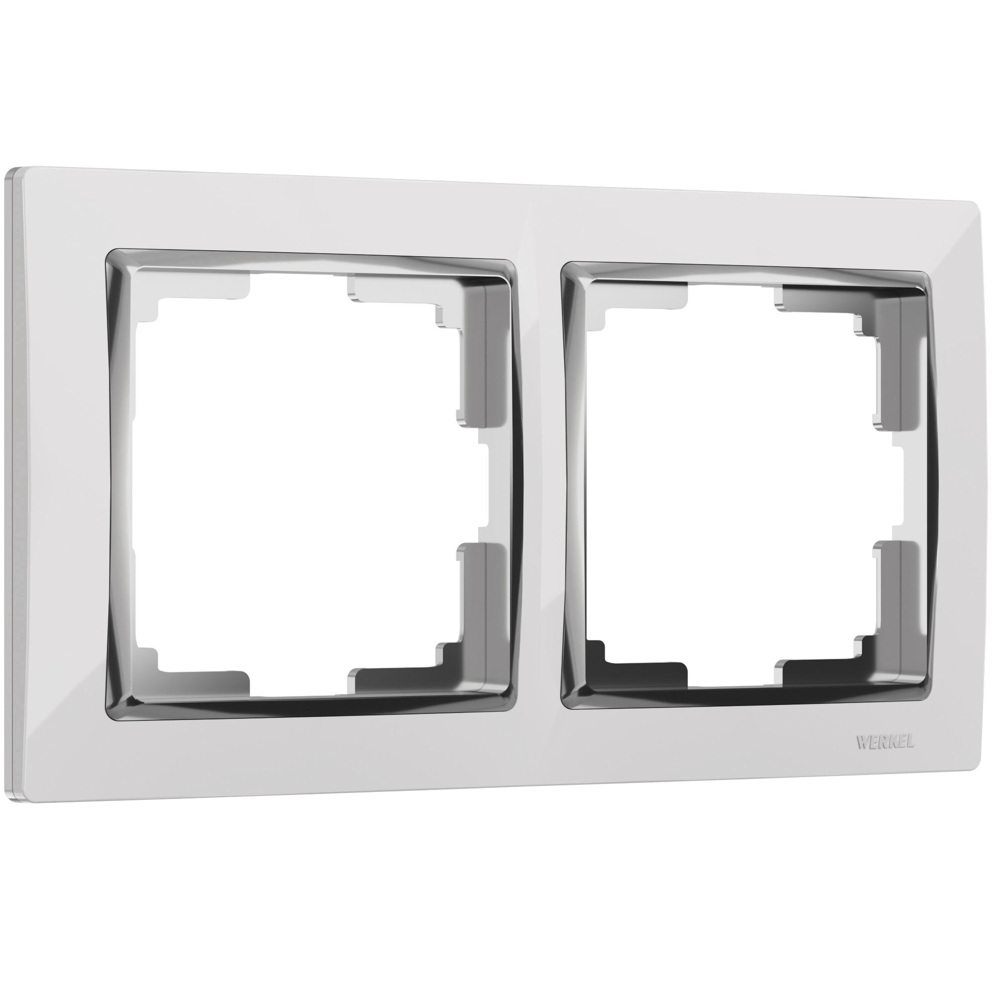 WL03-Frame-02-white /Рамка на 2 поста (белый/хром)