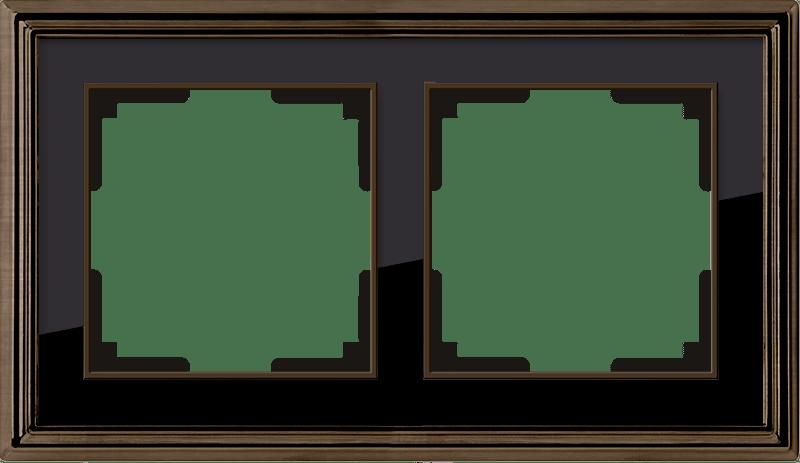 WL17-Frame-02/ Рамка на 2 поста (бронза/черный)