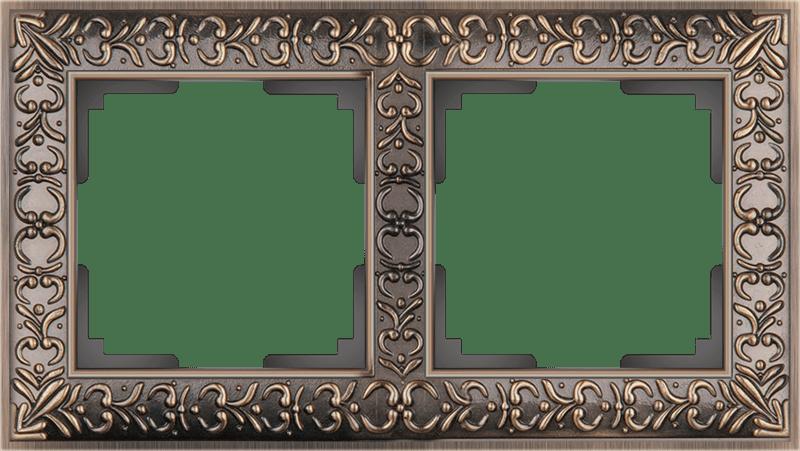 WL07-Frame-02/Рамка на 2 поста  (бронза)