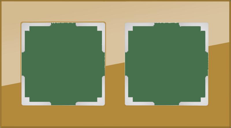 WL01-Frame-02 / Рамка на 2 поста (бронзовый,стекло)