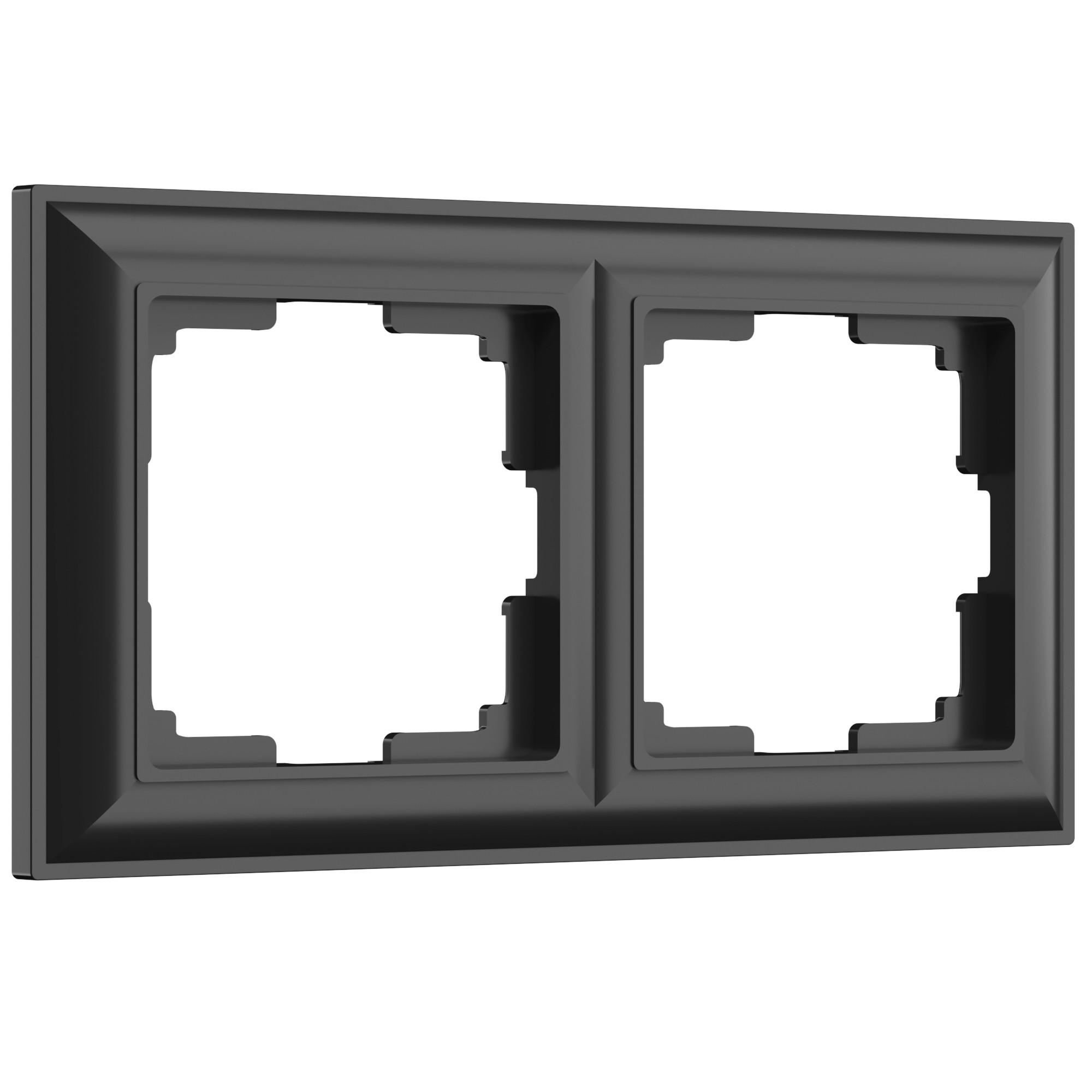 WL14-Frame-02/ Рамка на 2 поста (черный матовый)