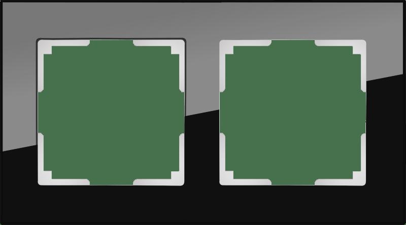 WL01-Frame-02 / Рамка на 2 поста (черный,стекло)