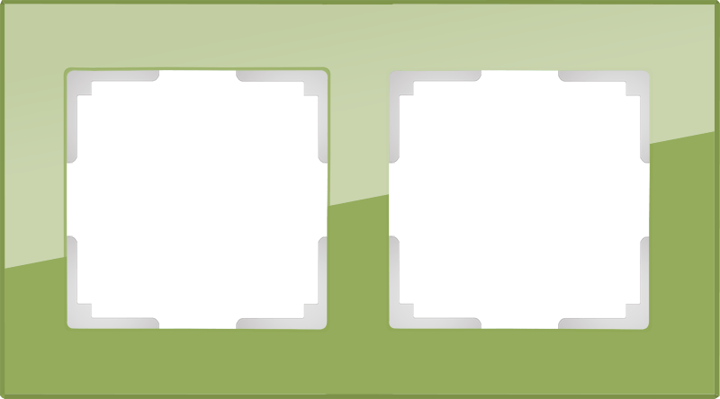 WL01-Frame-02 / Рамка на 2 поста (фисташковый,стекло)