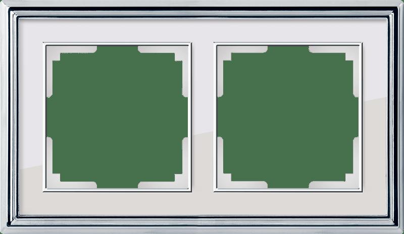 WL17-Frame-02/ Рамка на 2 поста (хром/белый)