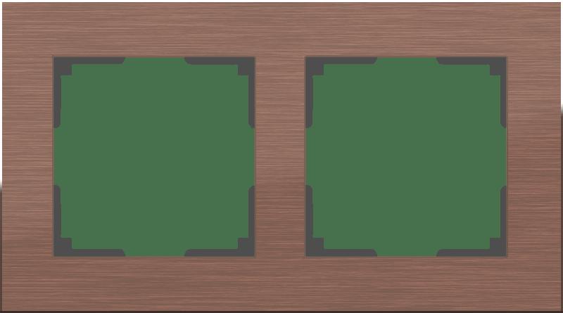 WL11-Frame-02 / Рамка на 2 поста (коричневый алюминий)