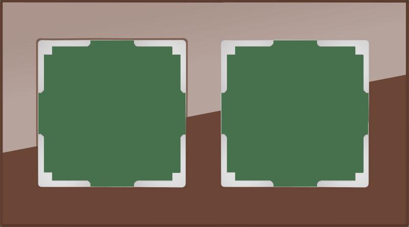 WL01-Frame-02 / Рамка на 2 поста (мокко,стекло)