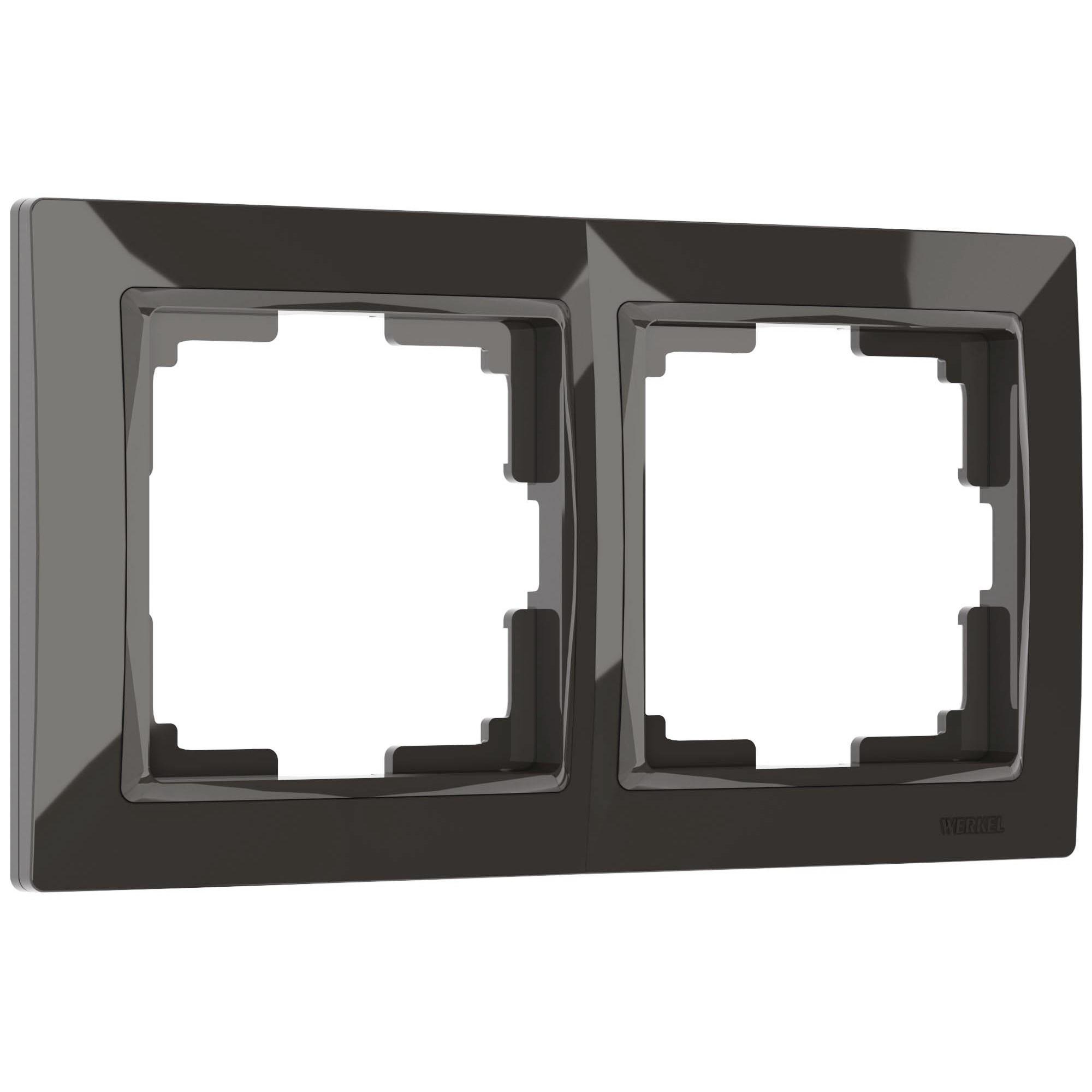 WL03-Frame-02/ Рамка на 2 поста (серо-коричневый, basic)