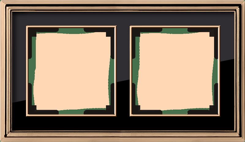 WL17-Frame-02/ Рамка на 2 поста (золото/черный)
