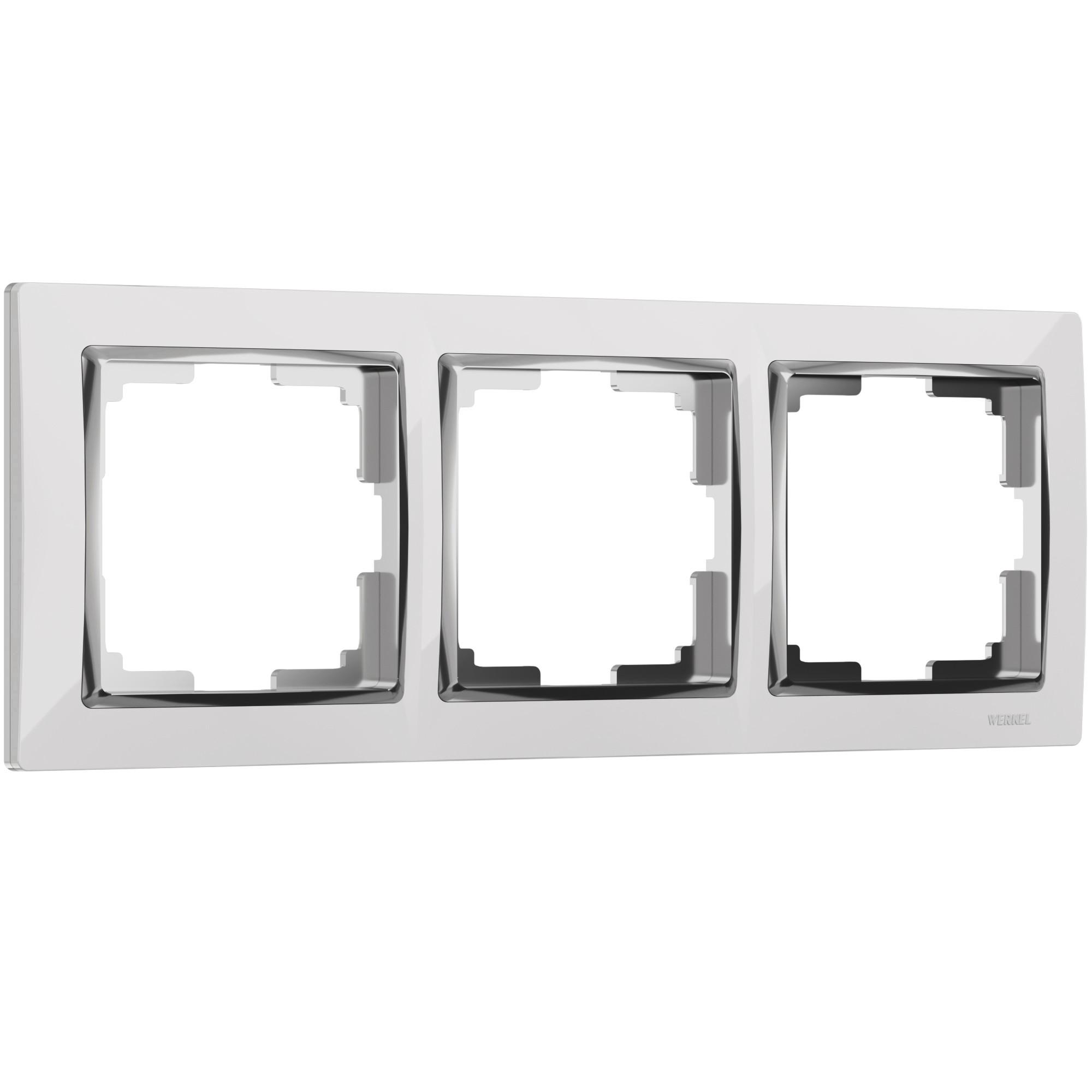 WL03-Frame-03-white /Рамка на 3 поста (белый/хром)