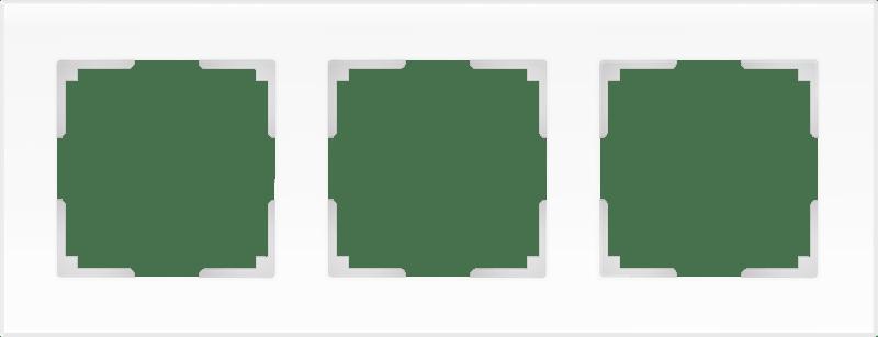 WL01-Frame-03 / Рамка на 3 поста (белый матовый,стекло)
