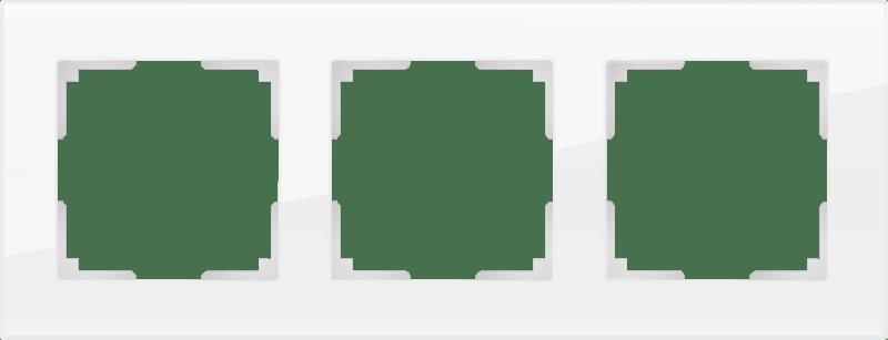 WL01-Frame-03 / Рамка на 3 поста (белый,стекло)