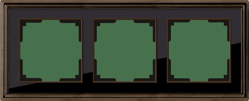 WL17-Frame-03/ Рамка на 3 поста (бронза/черный)