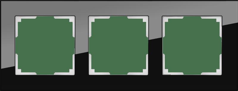 WL01-Frame-03 / Рамка на 3 поста (черный,стекло)