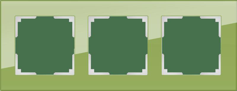 WL01-Frame-03 / Рамка на 3 поста (фисташковый,стекло)
