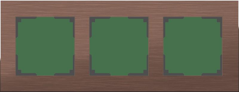 WL11-Frame-03 / Рамка на 3 поста (коричневый алюминий)