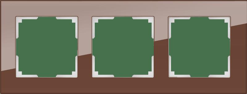 WL01-Frame-03 / Рамка на 3 поста (мокко,стекло)