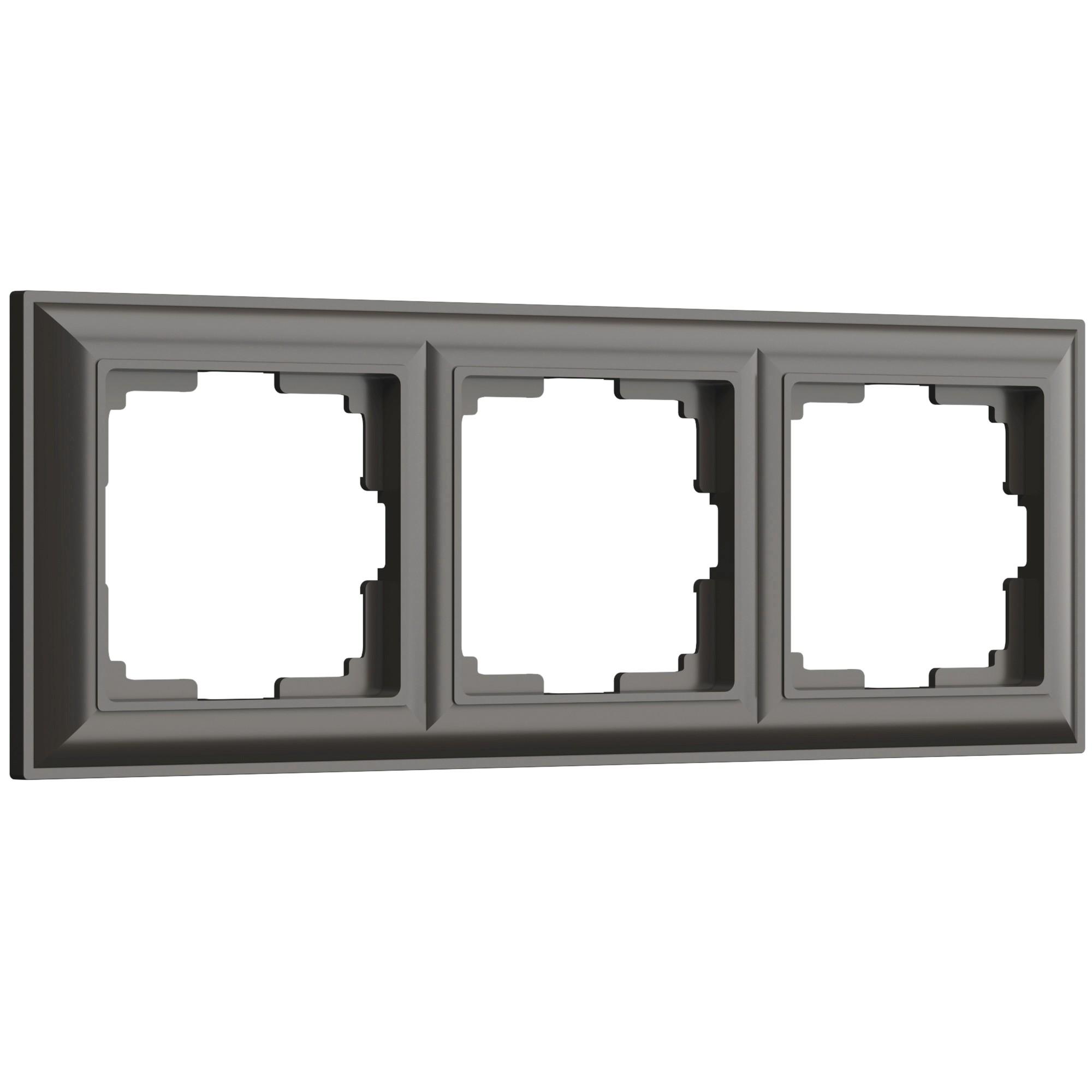 WL14-Frame-03/ Рамка на 3 поста (серо-коричневый)