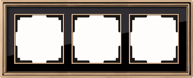 WL17-Frame-03/ Рамка на 3 поста (золото/черный)