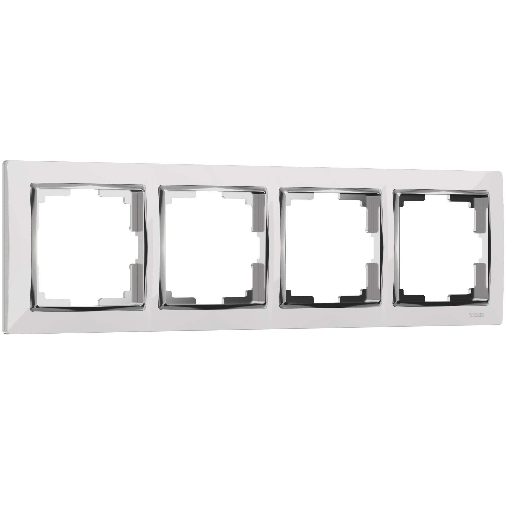 WL03-Frame-04-white /Рамка на 4 поста (белый/хром)