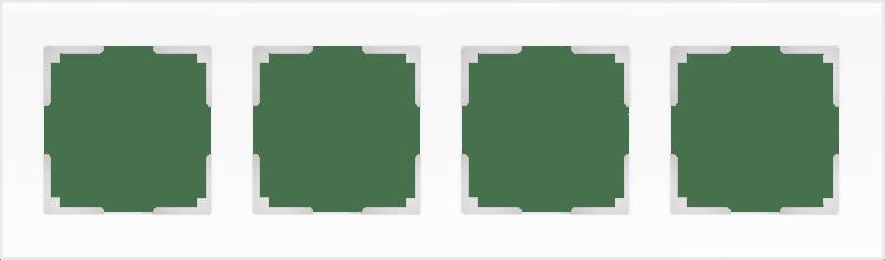 WL01-Frame-04 / Рамка на 4 поста (белый матовый,стекло)