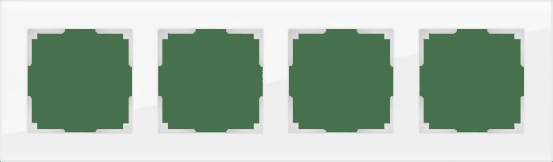 WL01-Frame-04 / Рамка на 4 поста (белый, стекло)