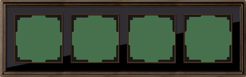 WL17-Frame-04/ Рамка на 4 поста (бронза/черный)