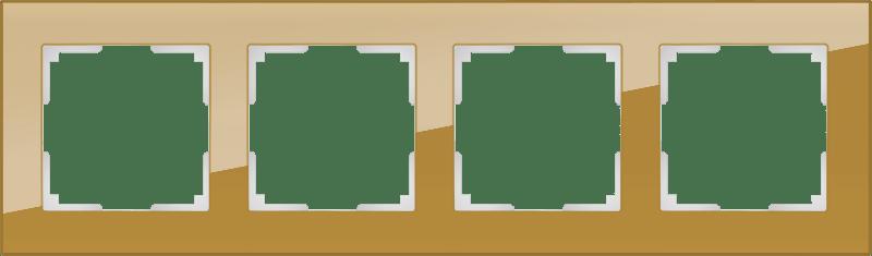 WL01-Frame-04 / Рамка на 4 поста (бронзовый,стекло)