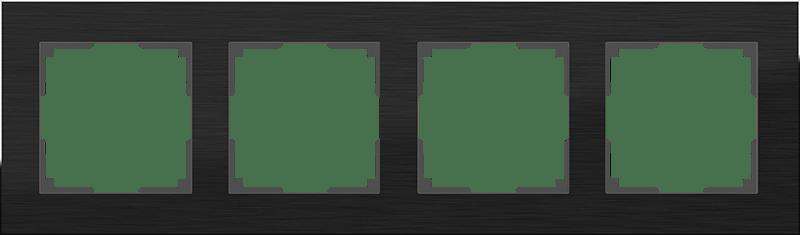 WL11-Frame-04 / Рамка на 4 поста (черный алюминий)