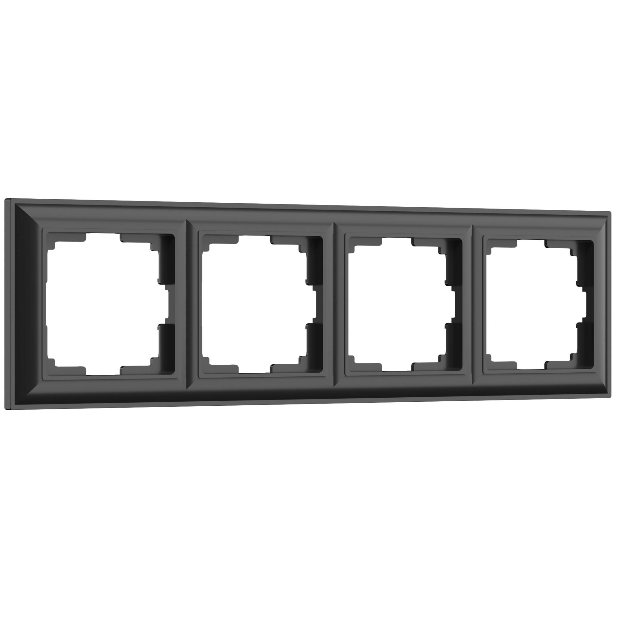 WL14-Frame-04/ Рамка на 4 поста (черный матовый)