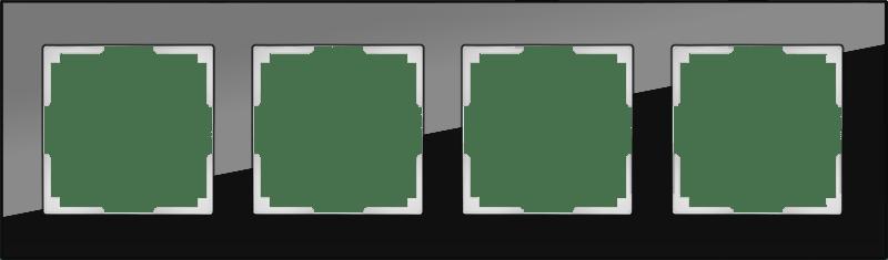 WL01-Frame-04 / Рамка на 4 поста (черный,стекло)