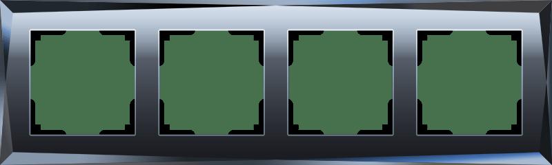 WL08-Frame-04/Рамка на 4 поста  (черный)