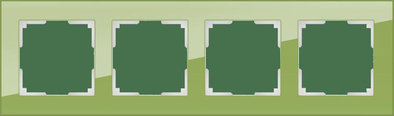 WL01-Frame-04 / Рамка на 4 поста (фисташковый,стекло)